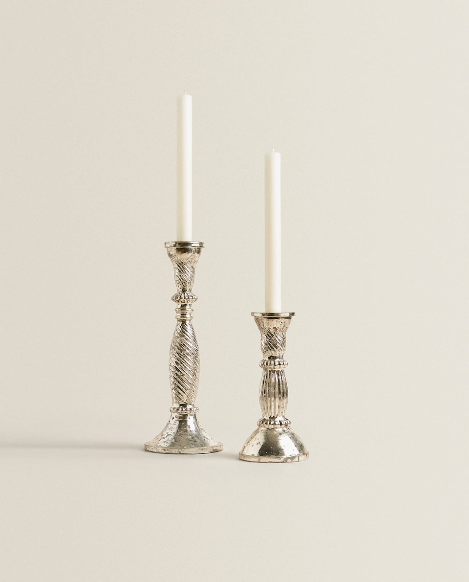 MERCURISED GLASS CANDLESTICK