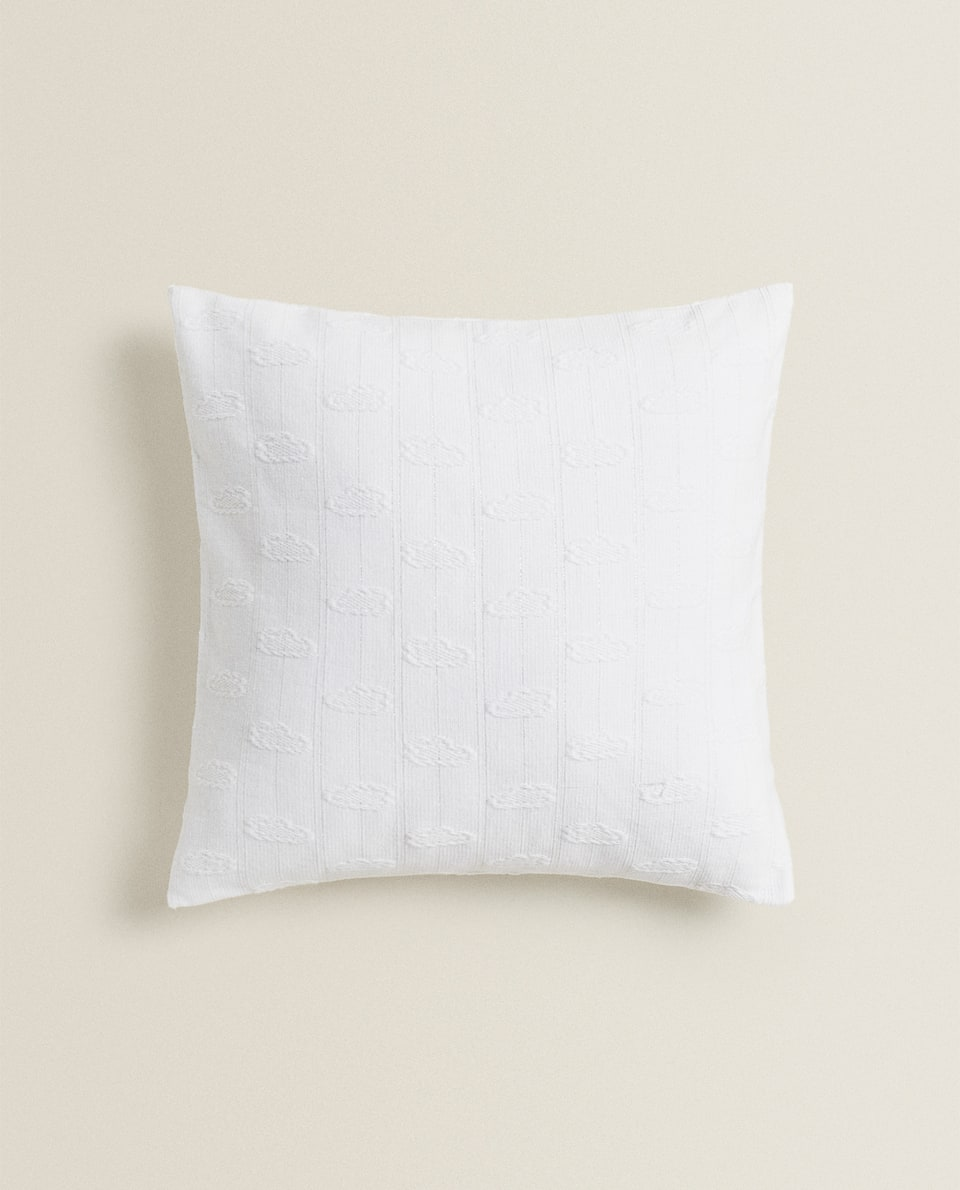 CLOUD DESIGN THROW PILLOW WITH METALLIC THREAD