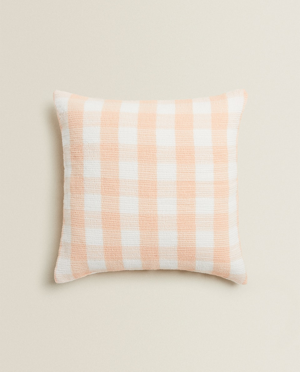 CHECK WAFFLE-KNIT CUSHION COVER