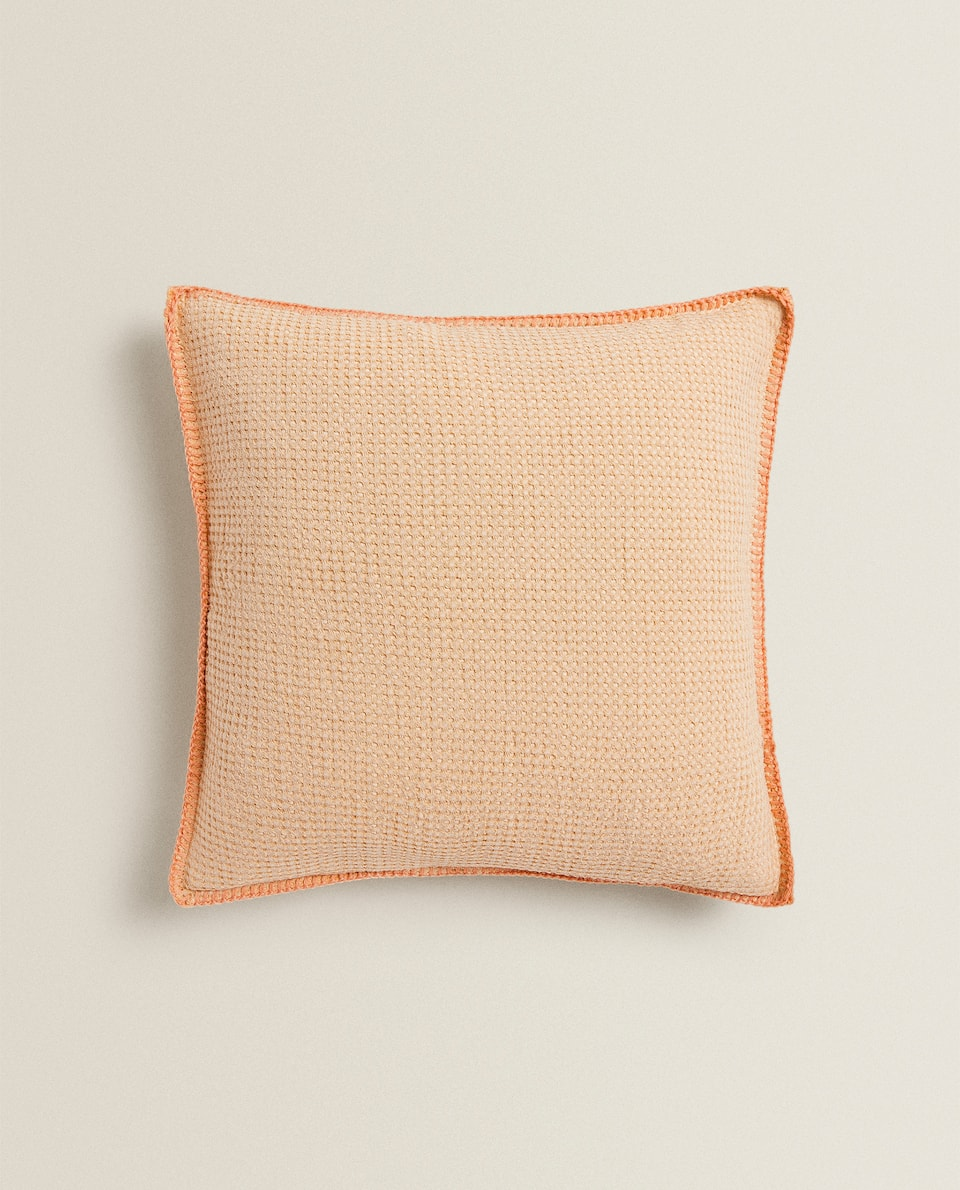 WAFFLE-KNIT CUSHION COVER