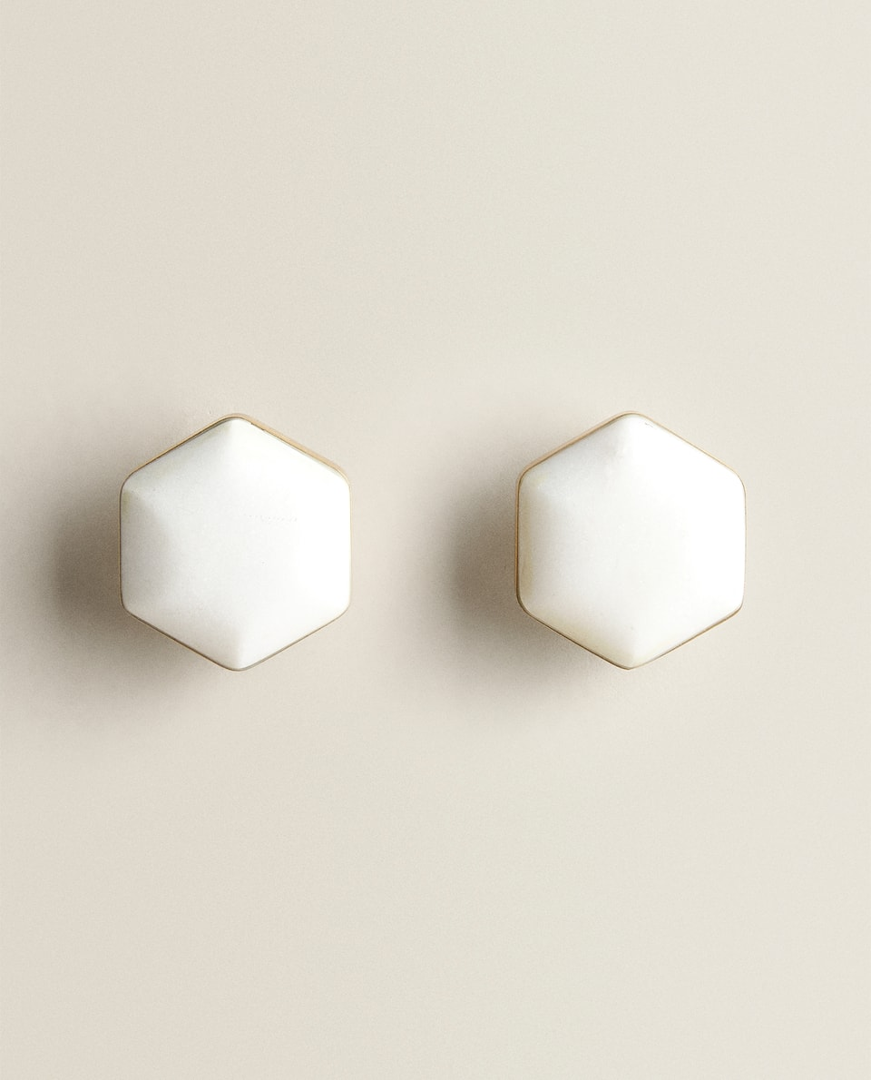 WHITE MARBLE DOOR KNOB (PACK OF 2)
