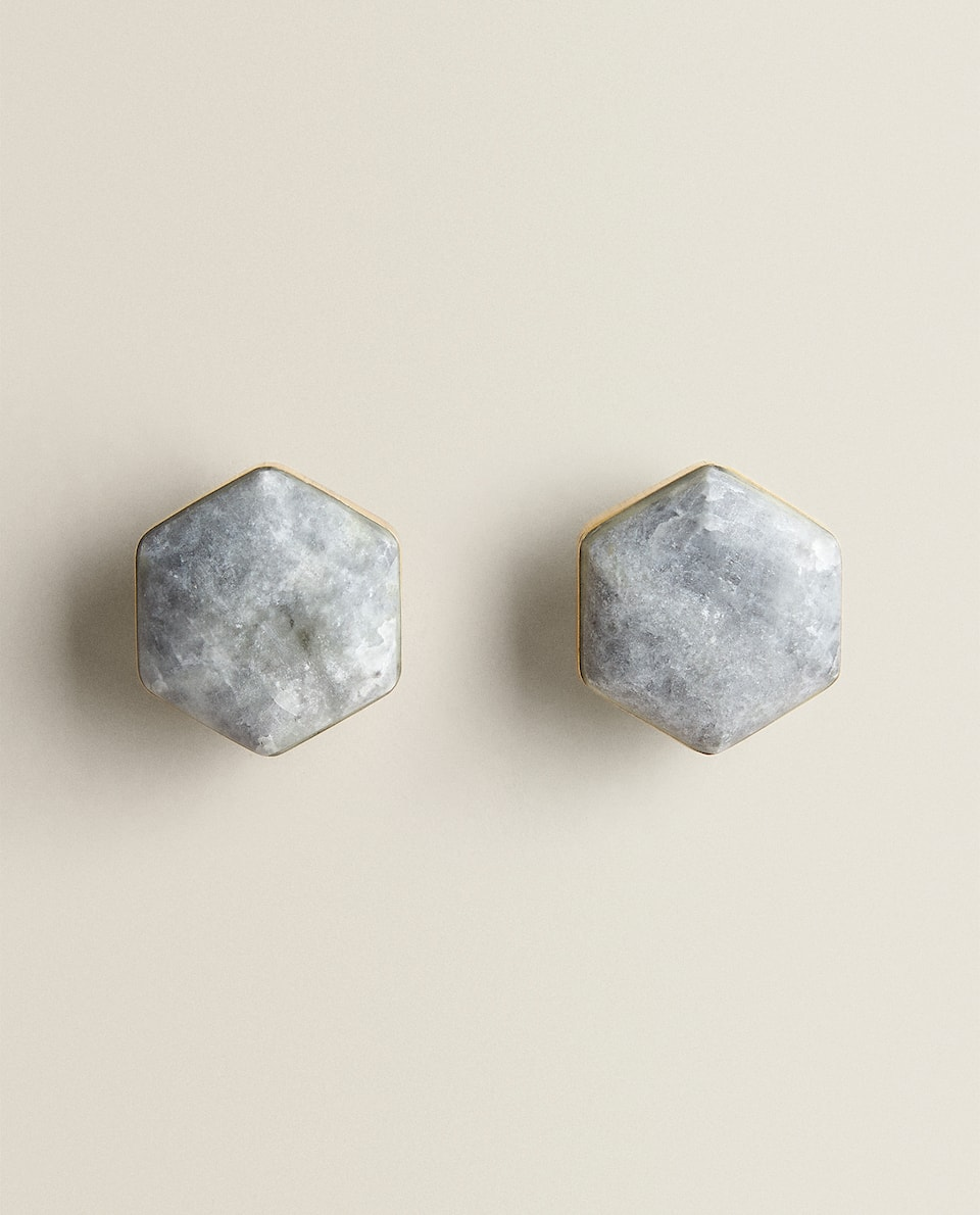 GREY MARBLE DOOR KNOB (PACK OF 2)
