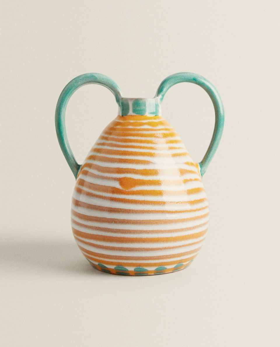 VASE LIGNES ORANGE