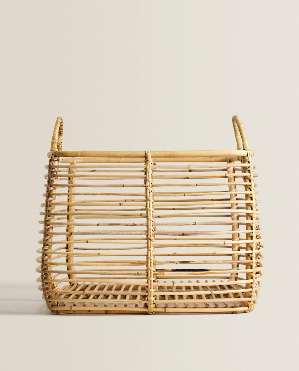 LARGE SQUARE RATTAN BASKET