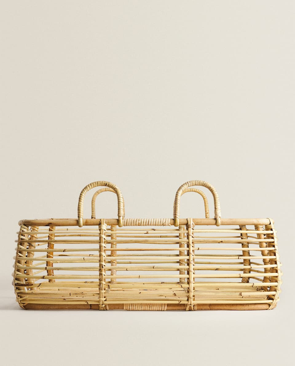 LARGE RECTANGULAR RATTAN BASKET