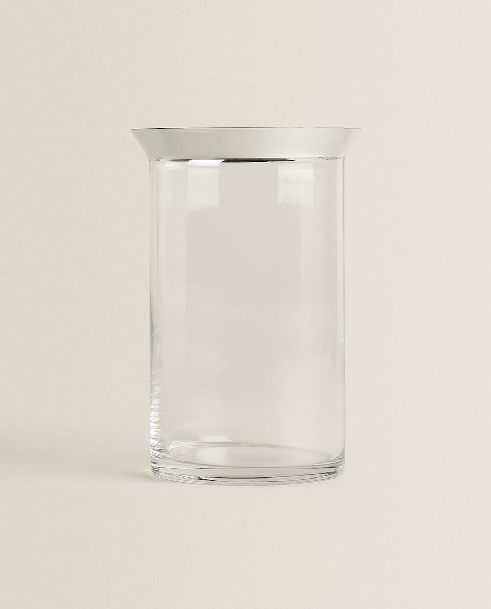 GLASS VASE WITH A SILVER EDGE