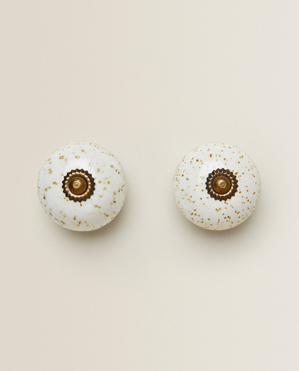 SPECKLED CERAMIC DOOR KNOB (PACK OF 2)