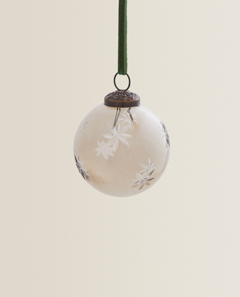 GLASS CHRISTMAS BAUBLE WITH STARS
