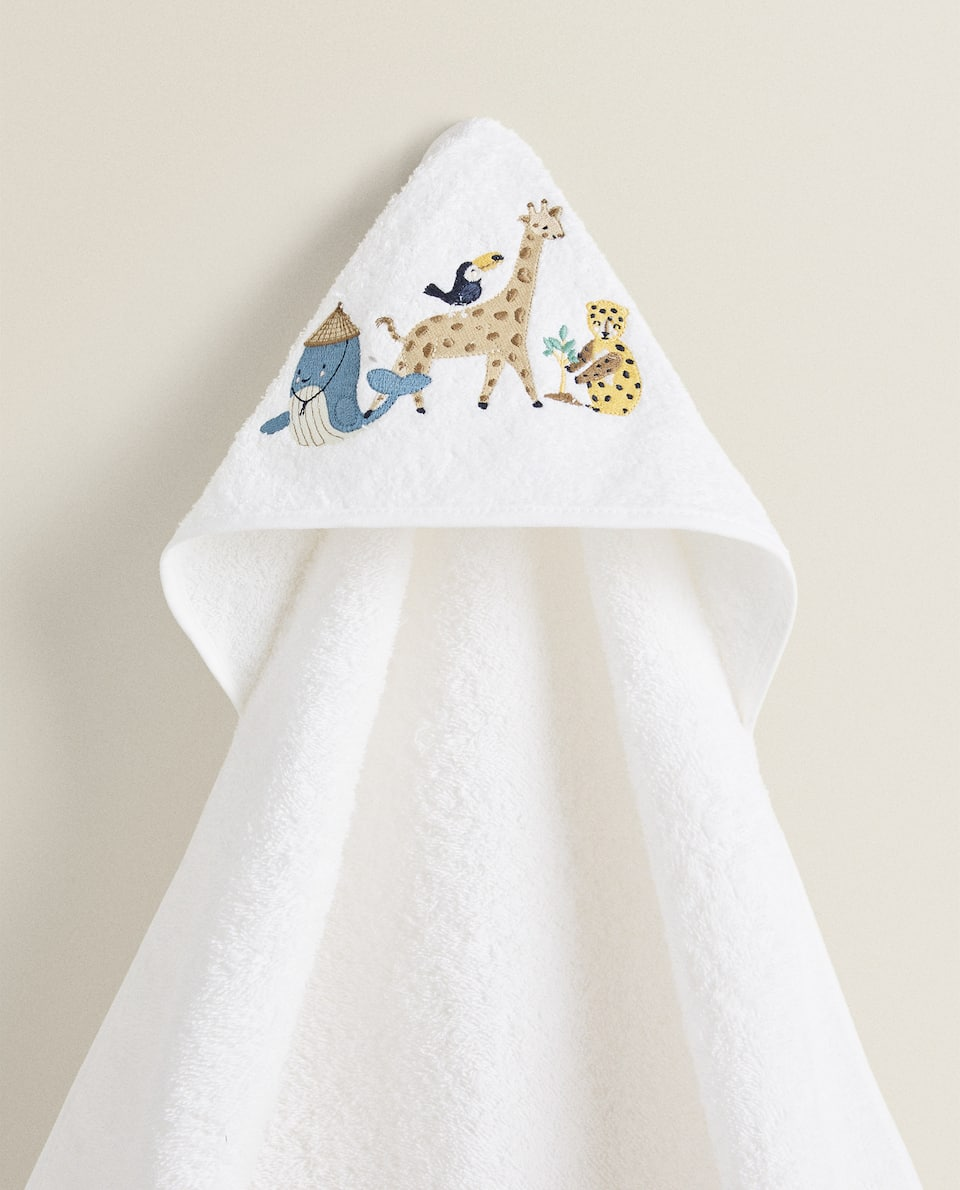 HOODED TOWEL WITH ANIMAL EMBROIDERY