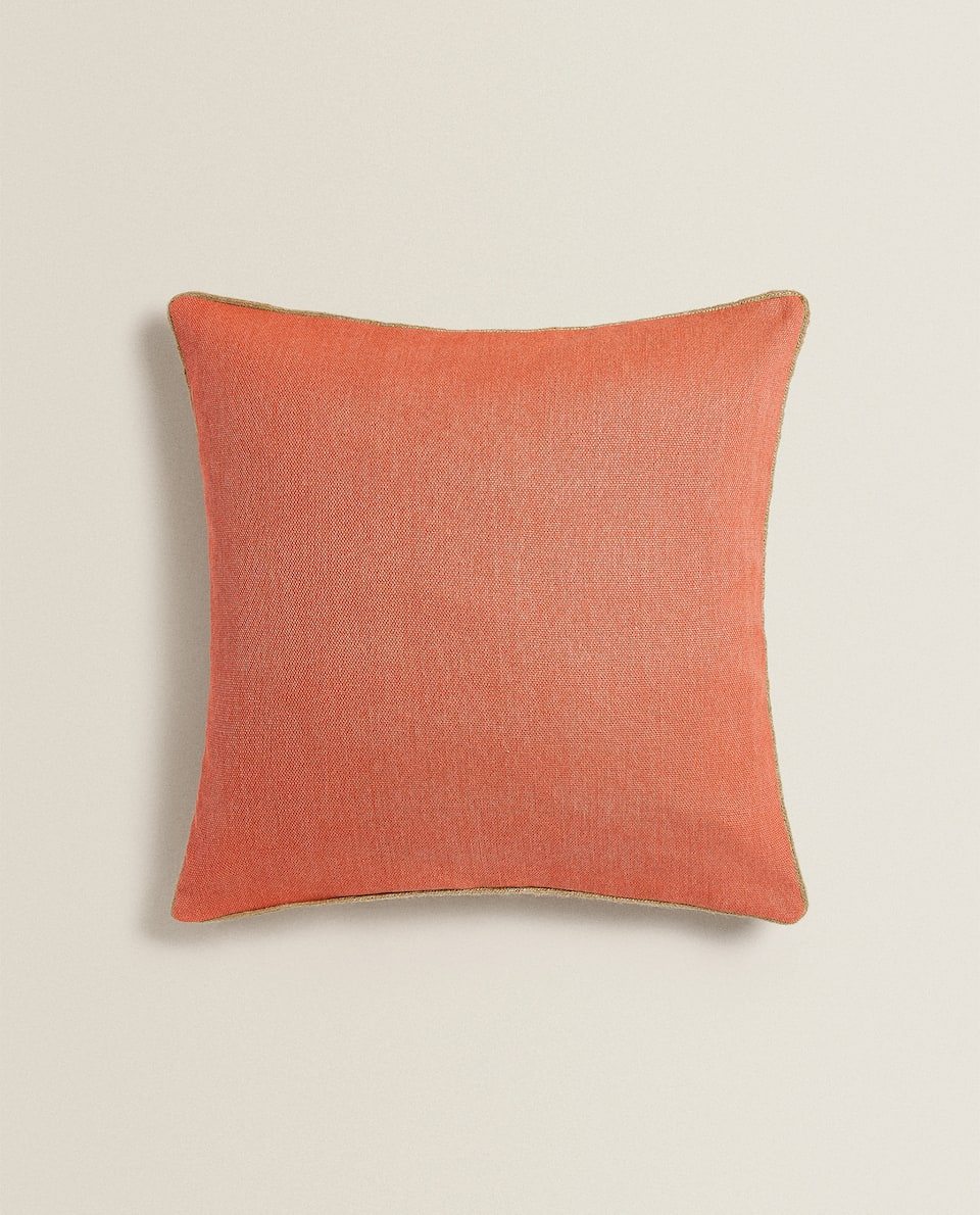COTTON AND JUTE CUSHION COVER