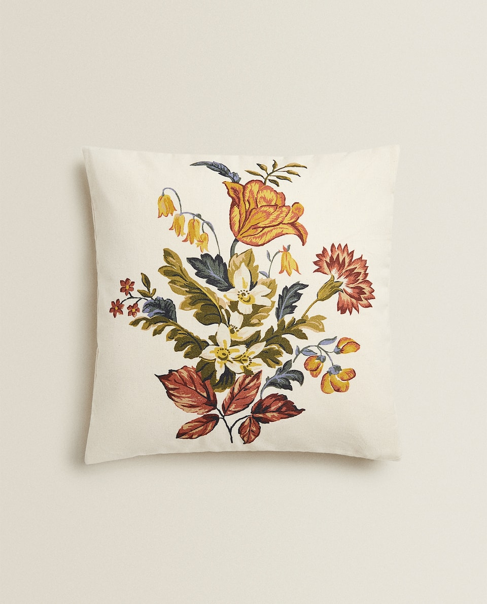 FLORAL PRINT CUSHION COVER