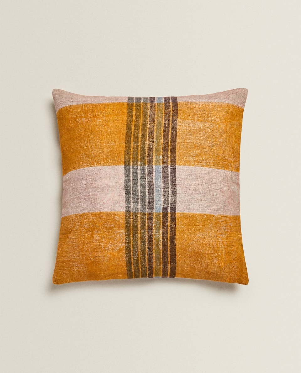 MULTICOLOURED LINEN CUSHION COVER