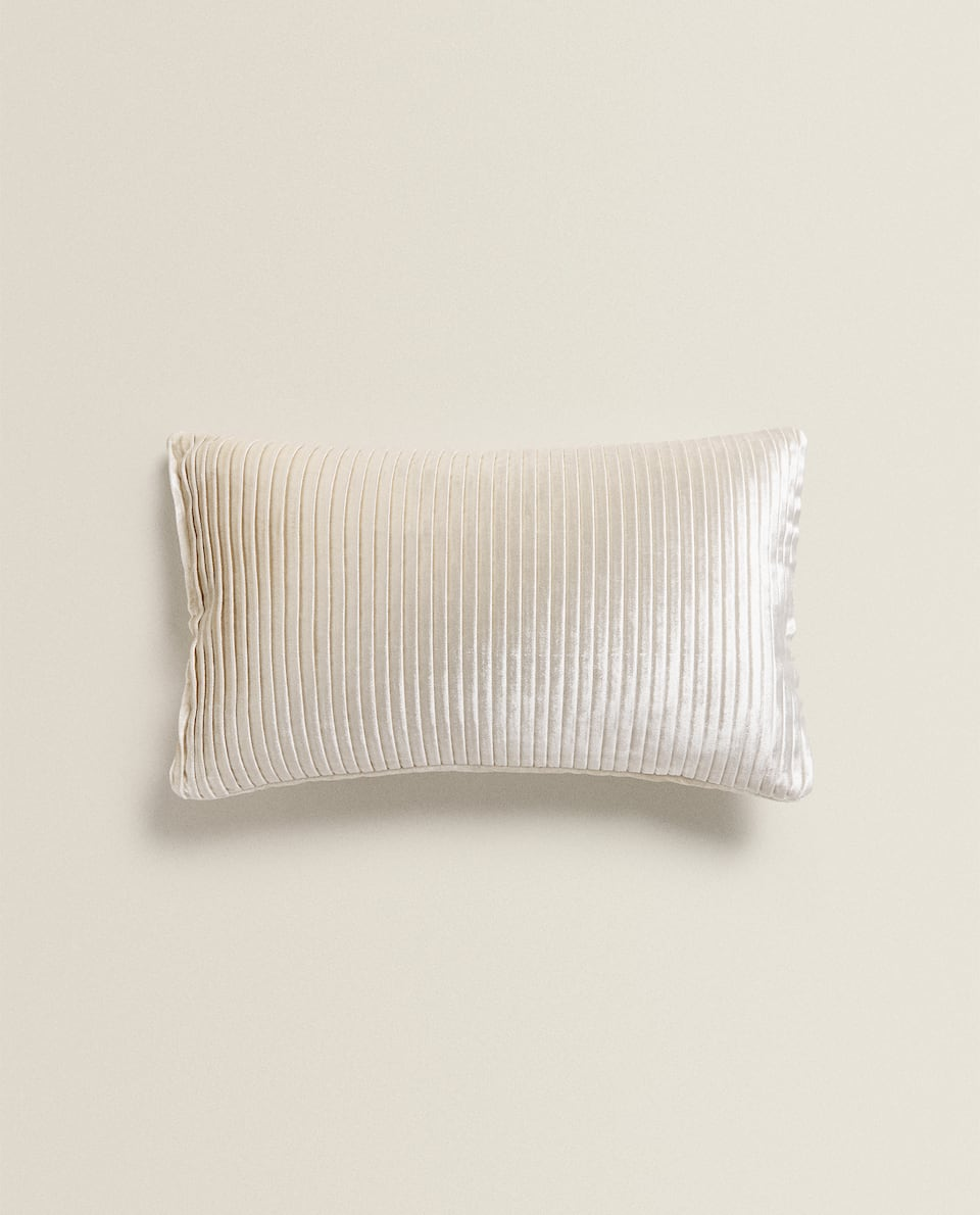 PLEATED VELVET THROW PILLOW