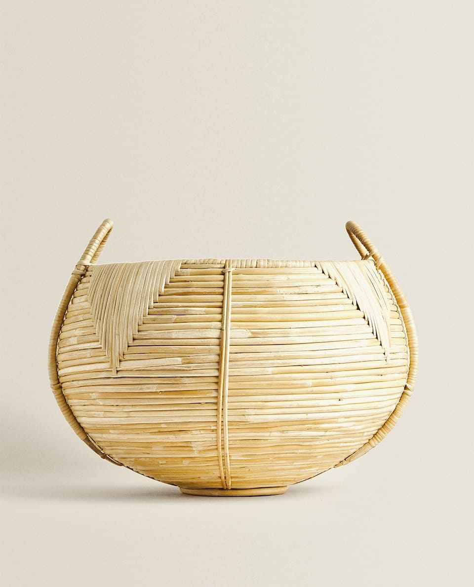 RATTAN BASKET WITH DIAMONDS