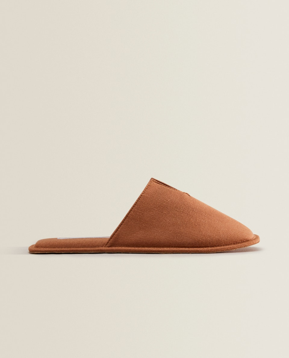 BURNT ORANGE LINEN SLIPPERS