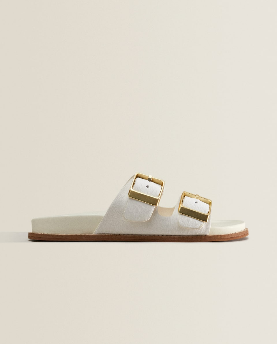DOUBLE-BUCKLE LEATHER SANDALS