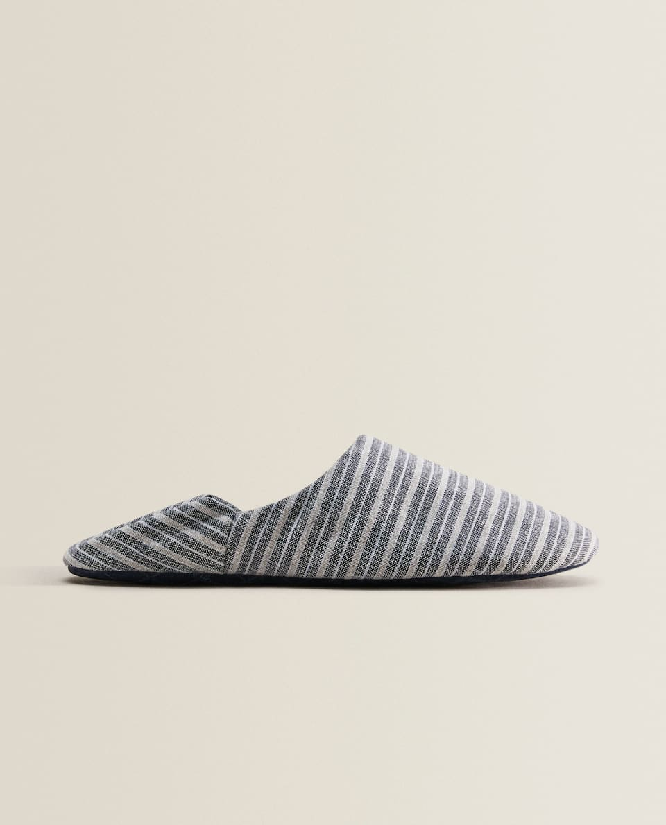 STRIPED FABRIC BABOUCHE SLIPPERS