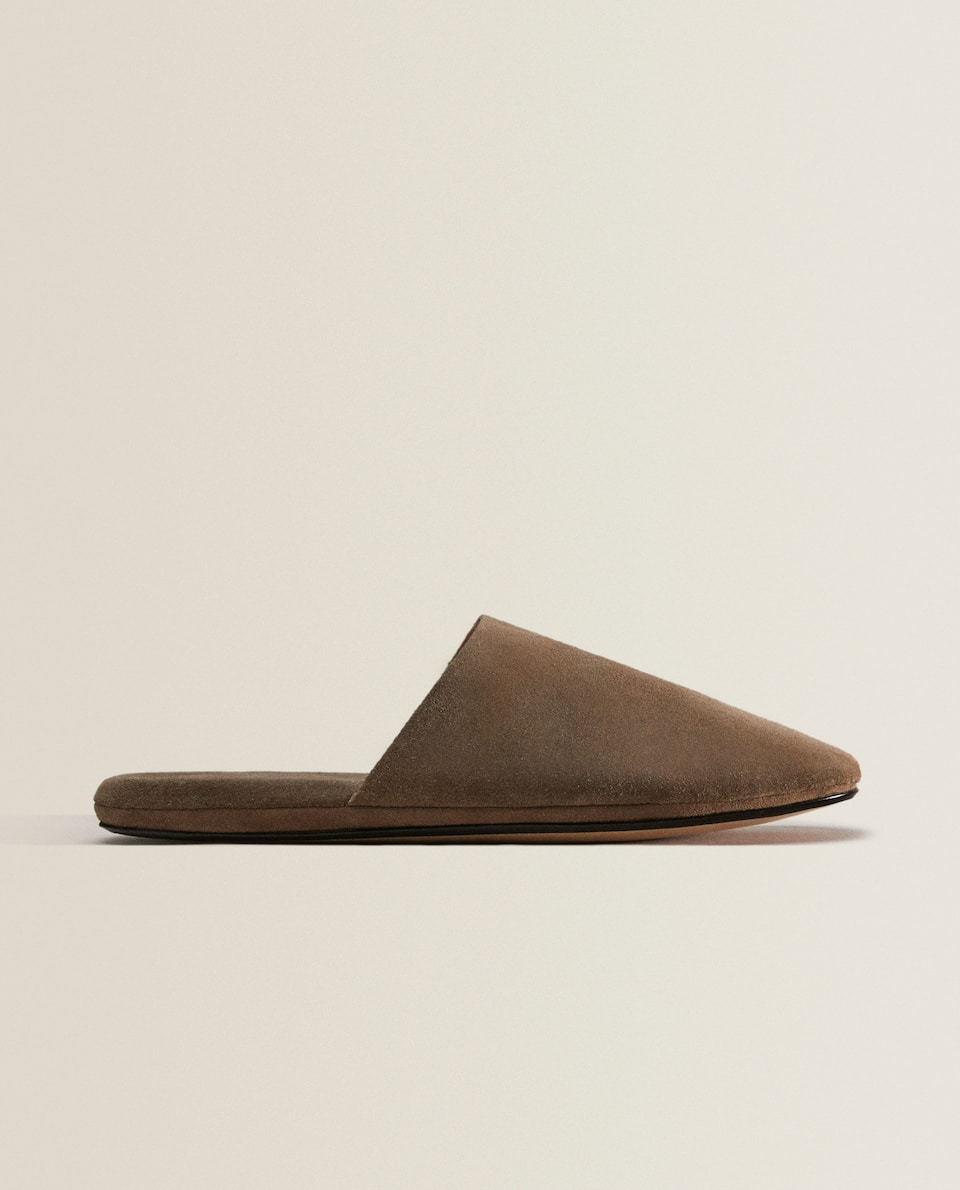 SPLIT SUEDE SLIPPERS