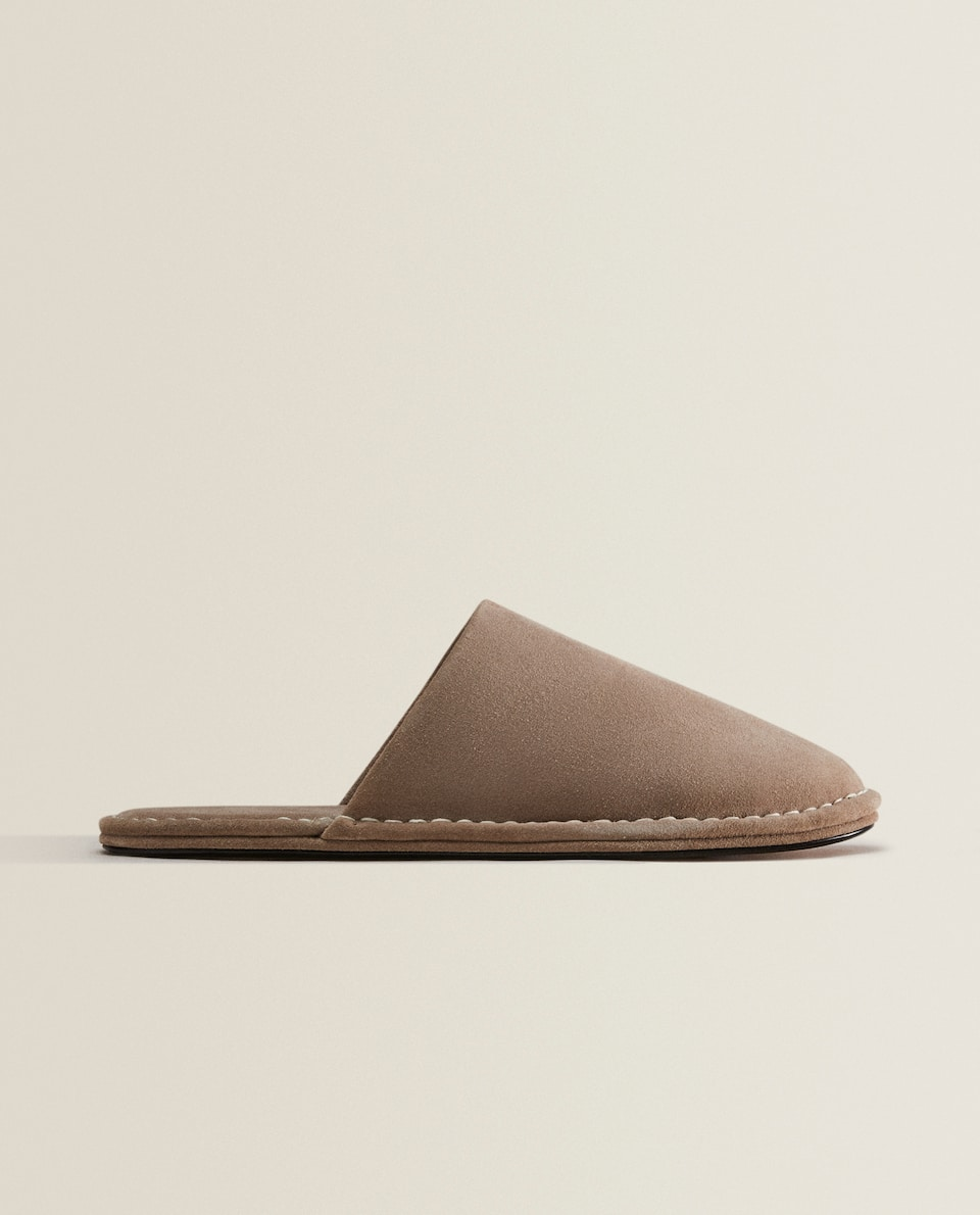 LEATHER SLIPPERS WITH TOPSTITCHING DETAIL