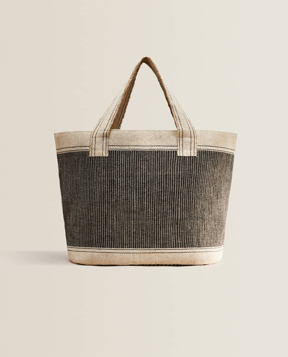 CONTRAST FABRIC TOTE BAG