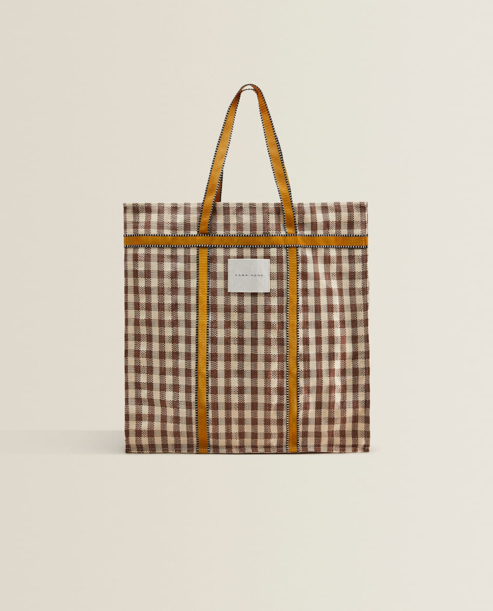 CHECK TOTE BAG WITH STRAP DETAIL