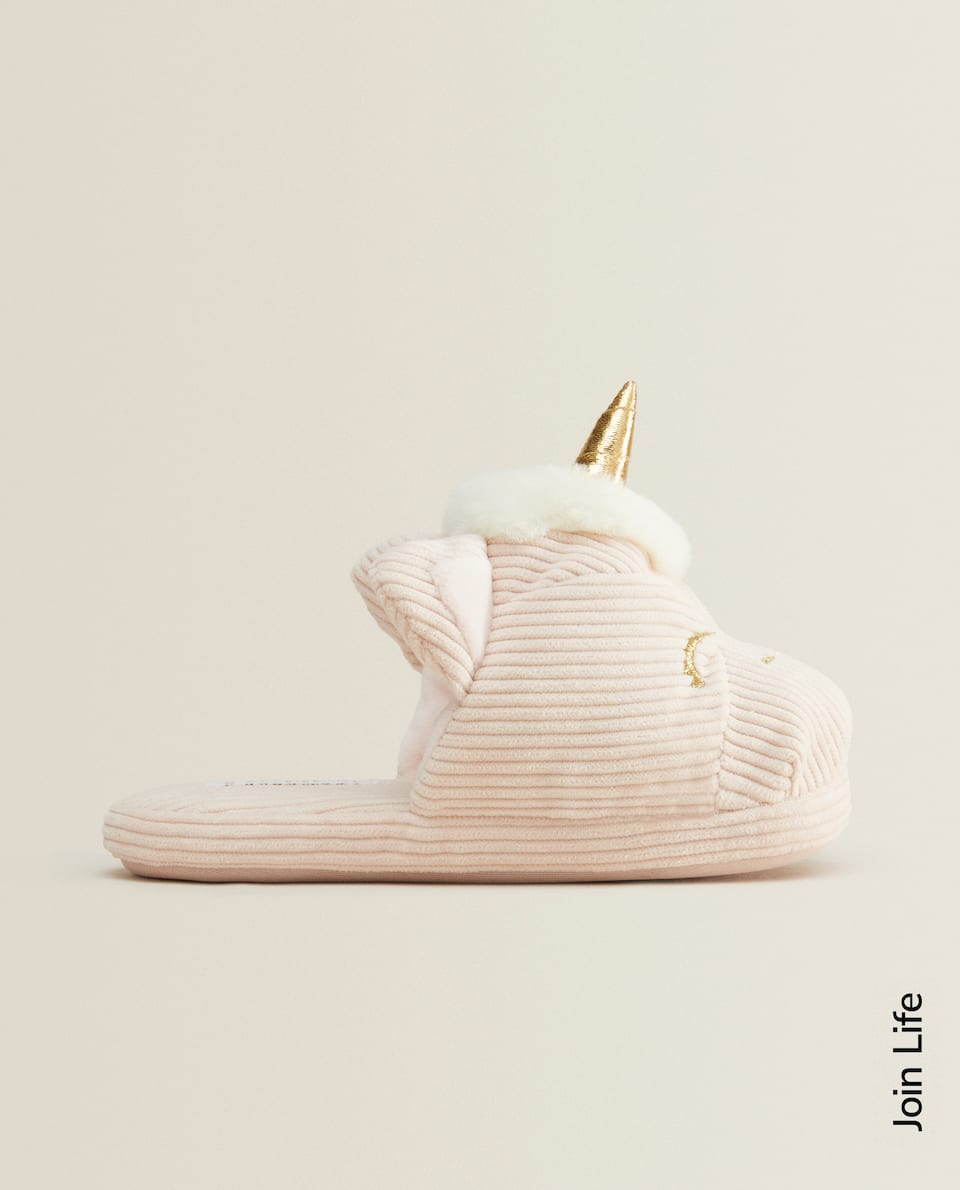 CORDUROY UNICORN MULE SLIPPERS