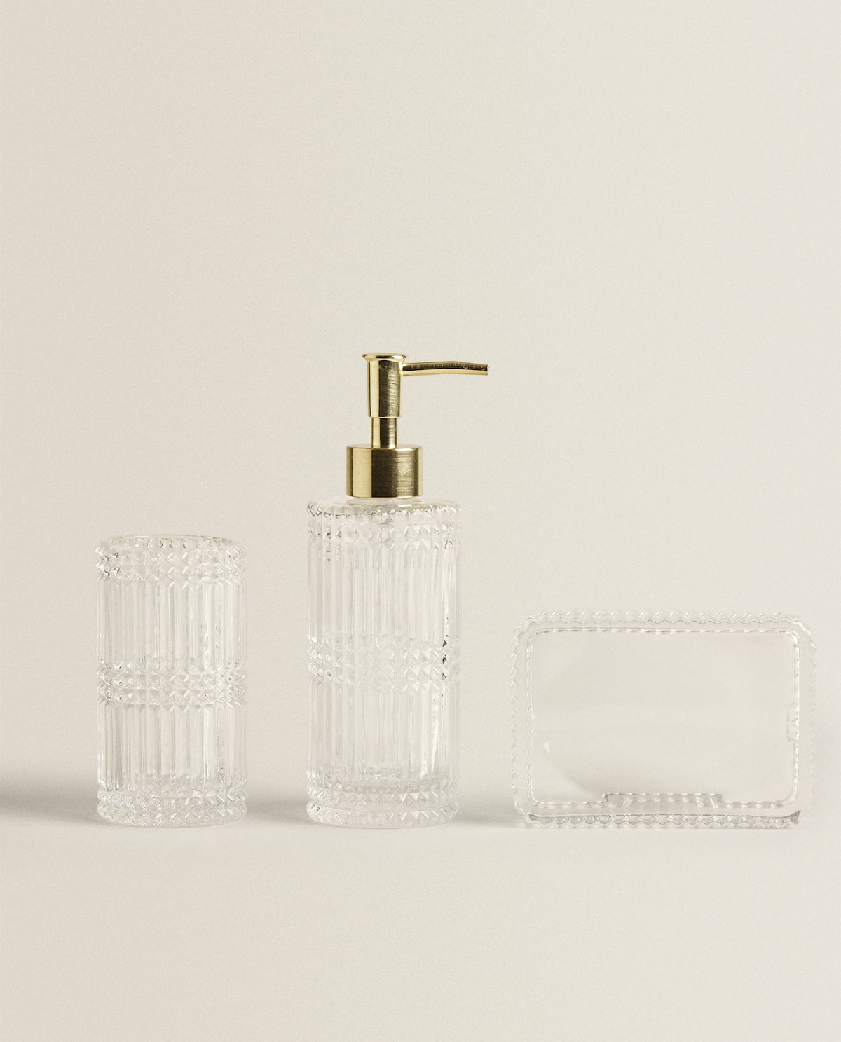 CUT GLASS BATHROOM SET