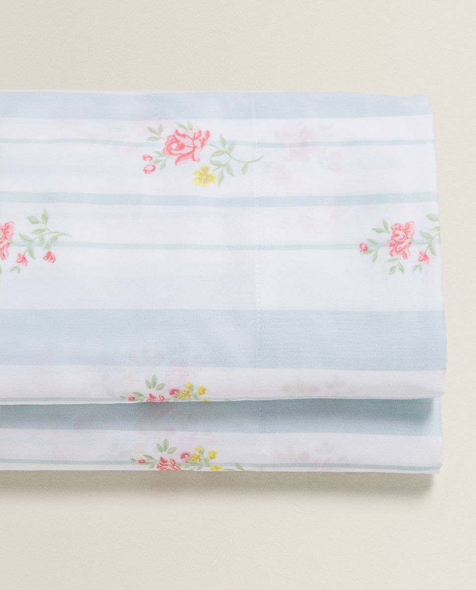 STRIPED AND FLORAL PRINT SATEEN FLAT SHEET
