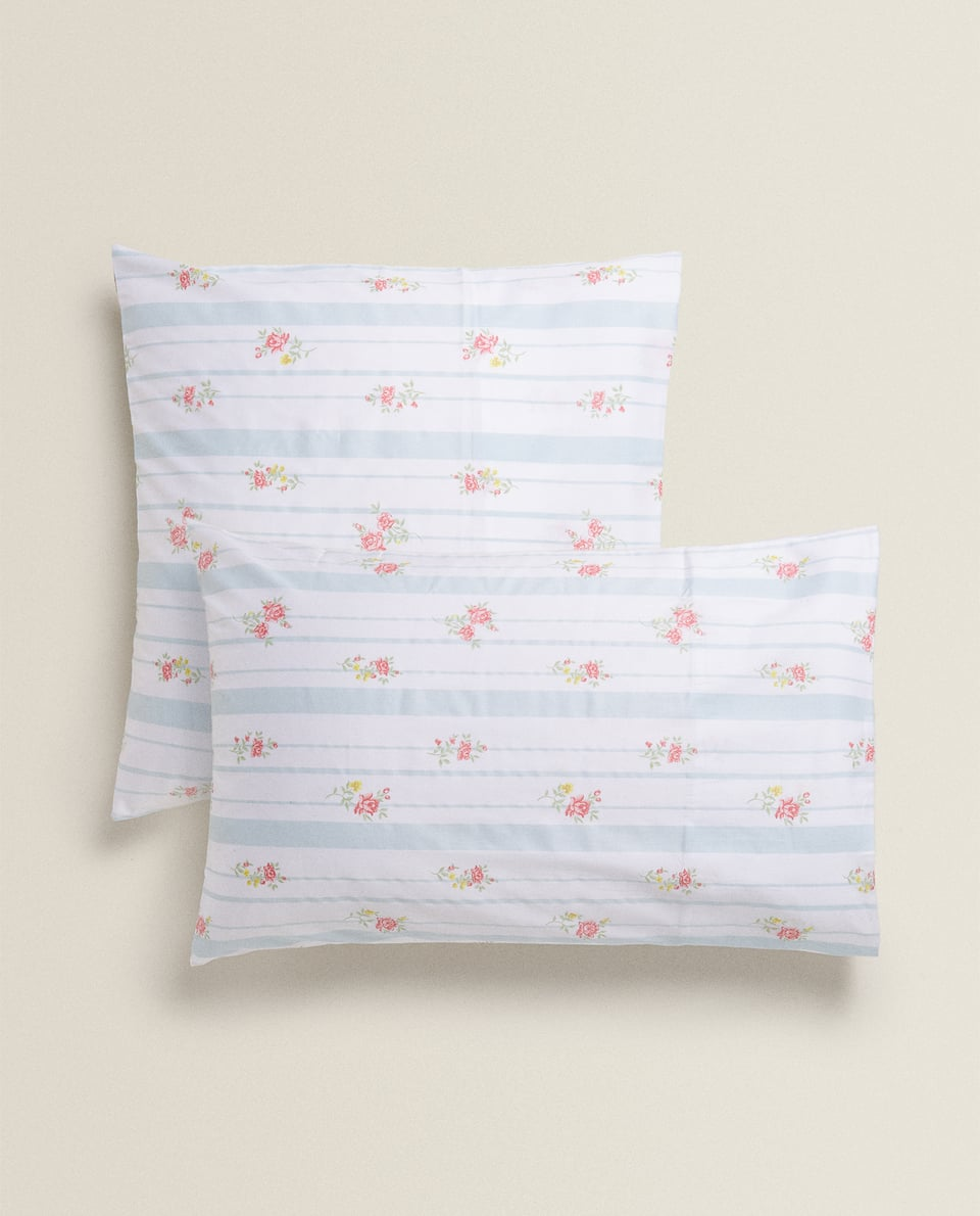 STRIPED AND FLORAL PRINT SATEEN PILLOWCASE