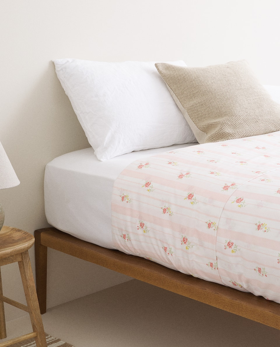 STRIPED AND FLORAL PRINT SATEEN DUVET COVER