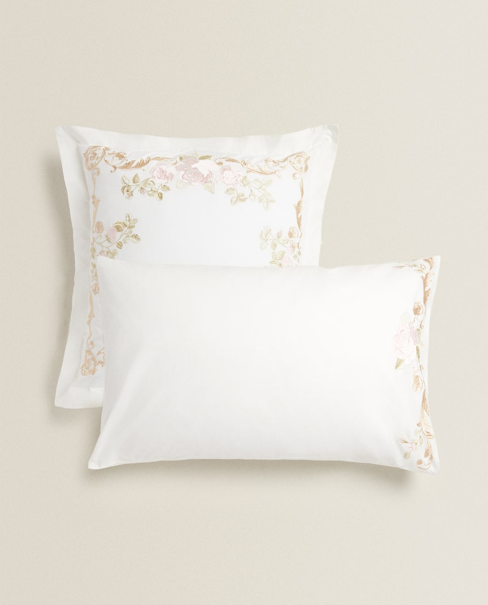 PILLOWCASE WITH ORNAMENTAL EMBROIDERY
