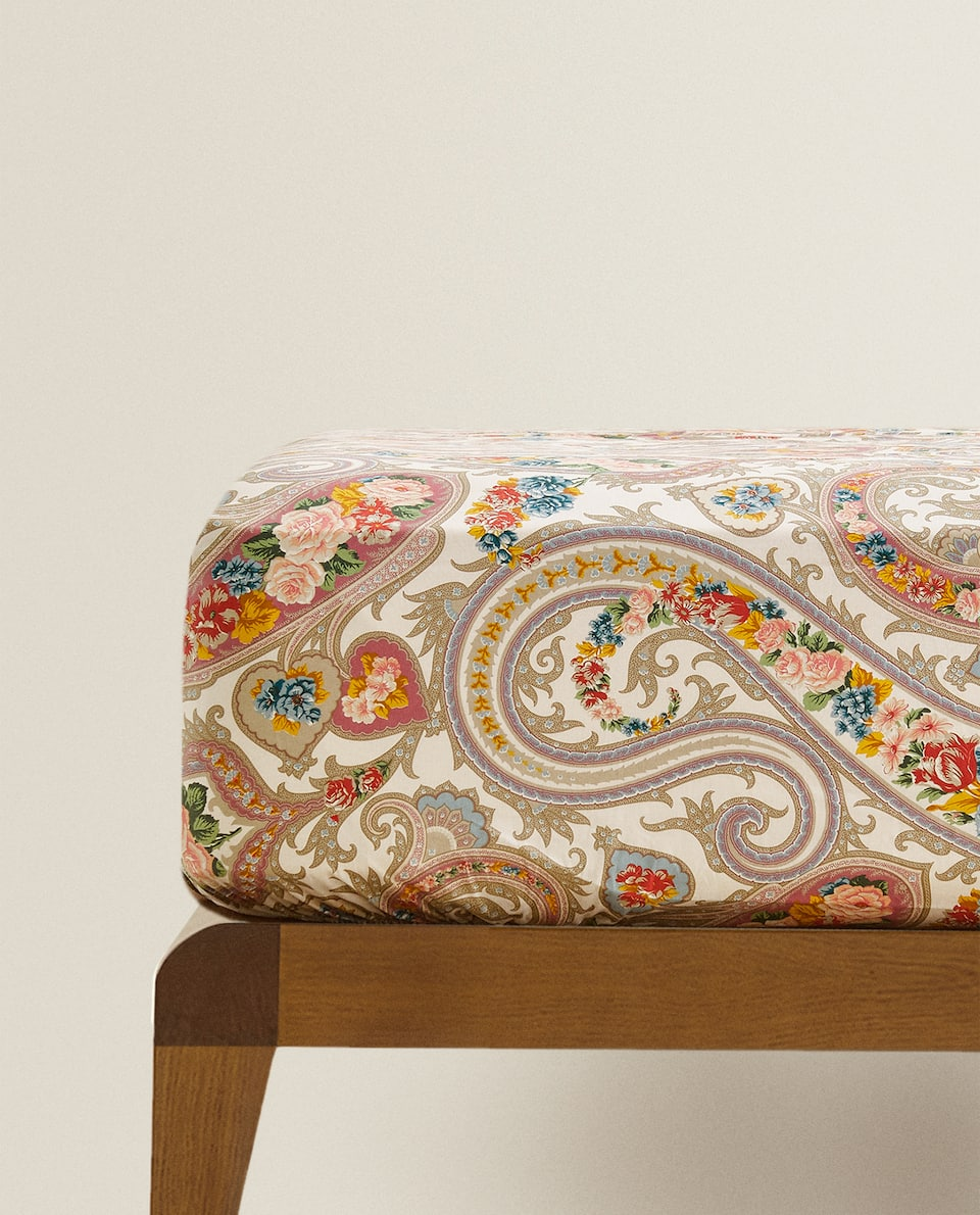 PAISLEY FLORAL PRINT FITTED SHEET