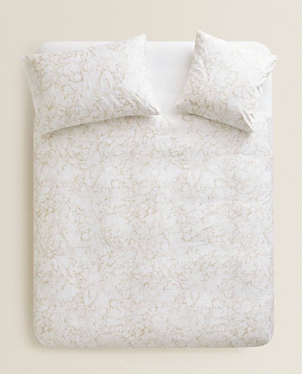 MARBLE-EFFECT SATEEN DUVET COVER