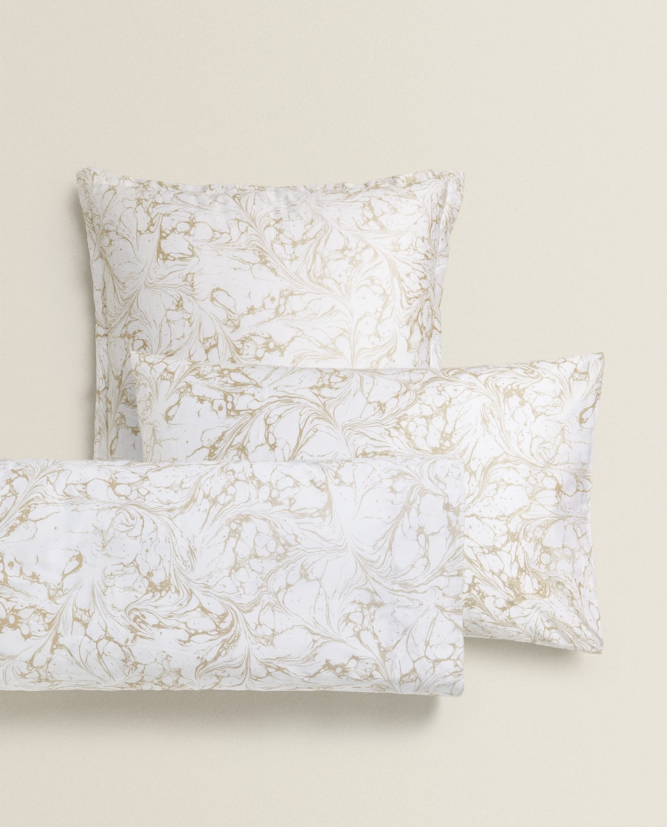 SATEEN MARBLE-EFFECT PILLOWCASE