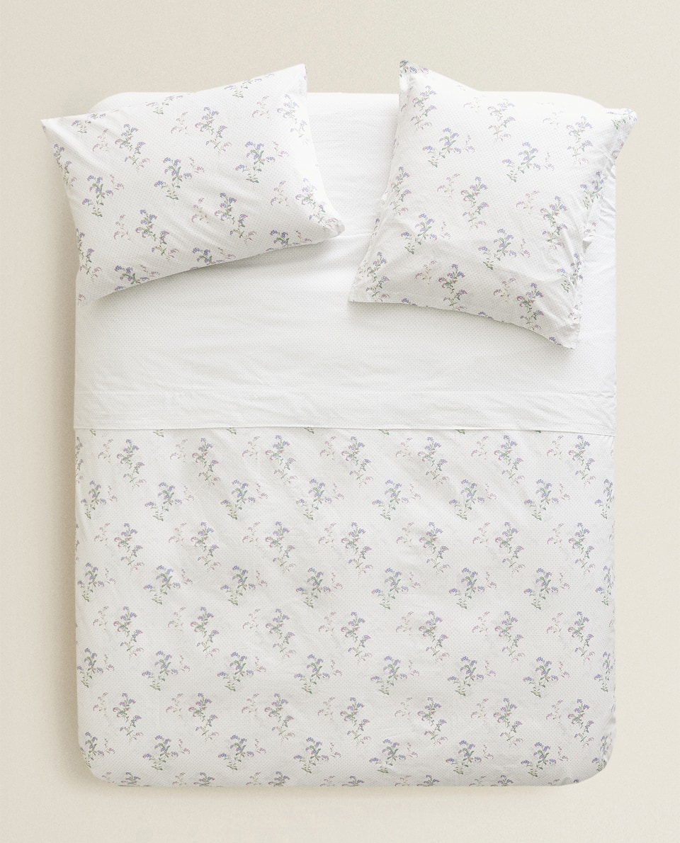 DUVET COVER WITH DOTS AND FLOWERS