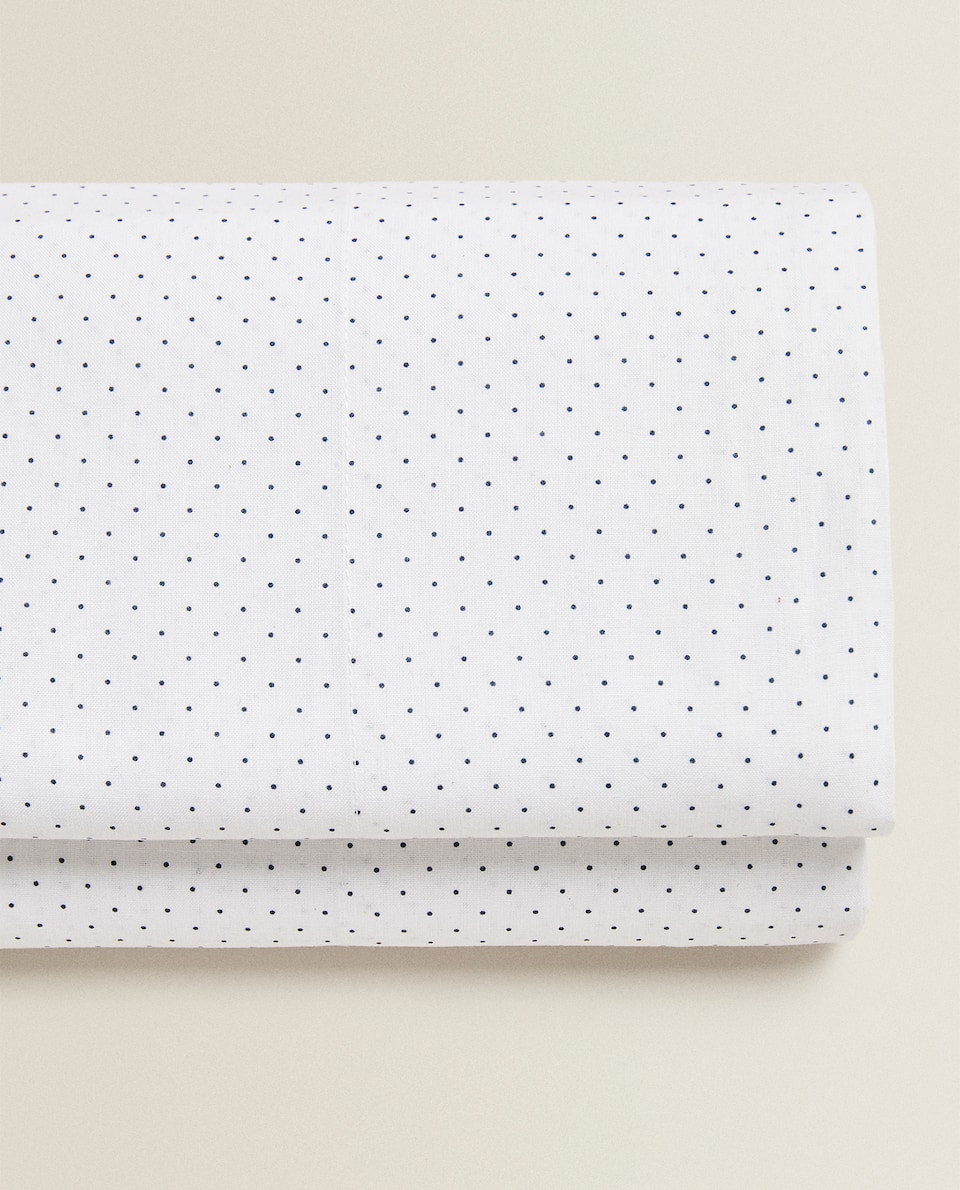 FLAT SHEET WITH DOTS AND FLOWERS