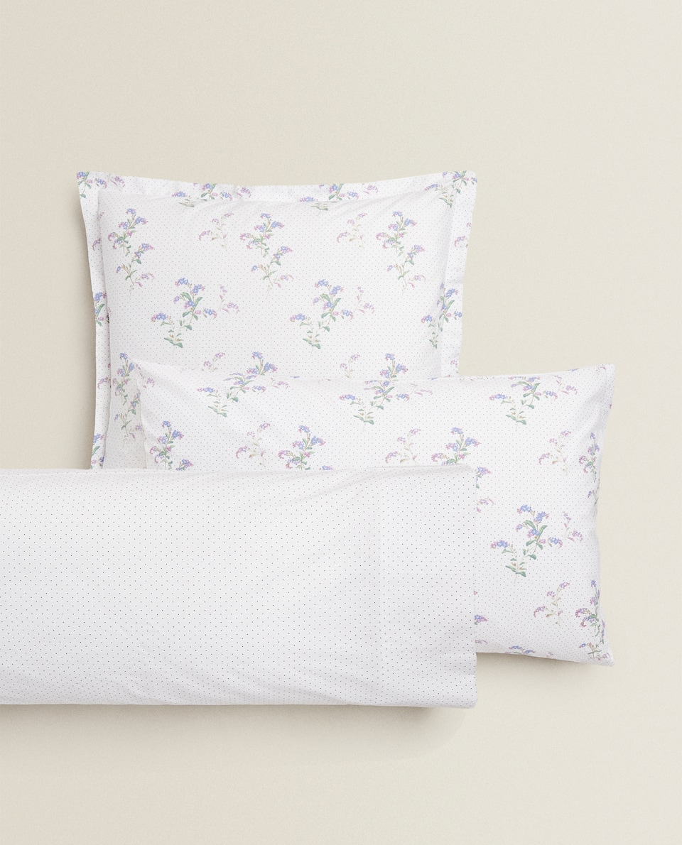 PILLOWCASE WITH DOT AND FLOWER PRINT