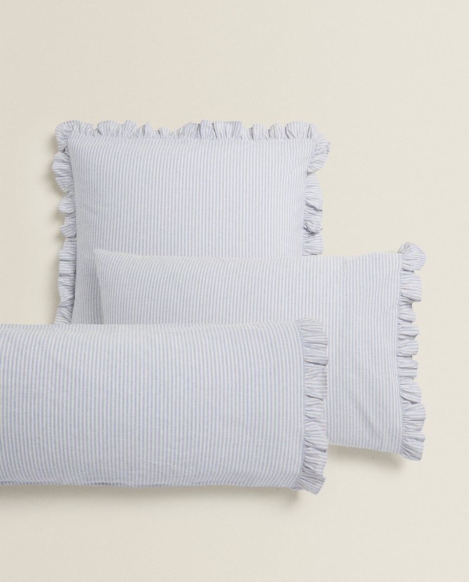 STRIPED AND RUFFLED PILLOWCASE