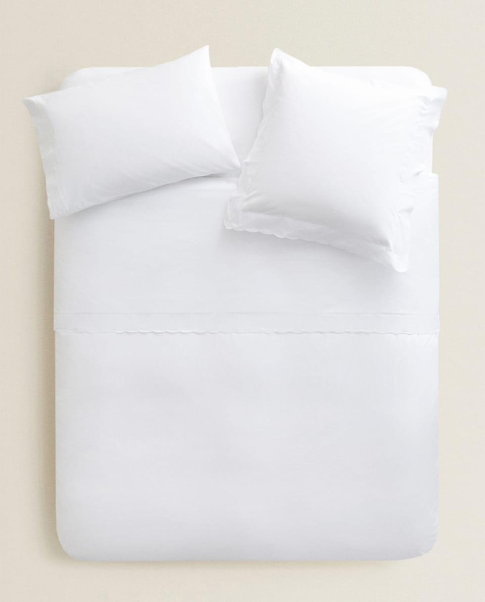 DUVET COVER WITH SCALLOPED RUFFLE