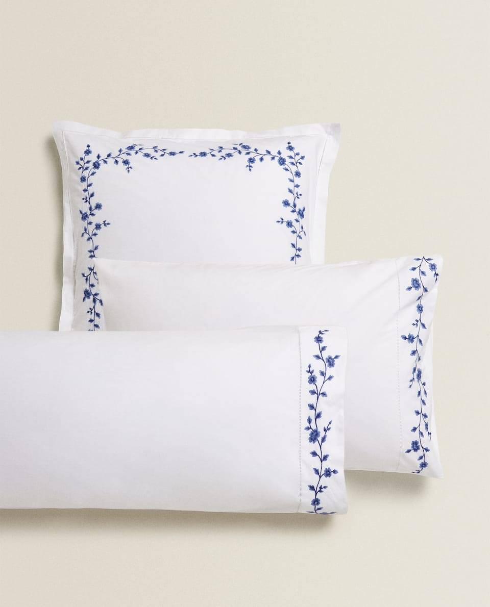EMBROIDERED FLOWER PILLOW CASE