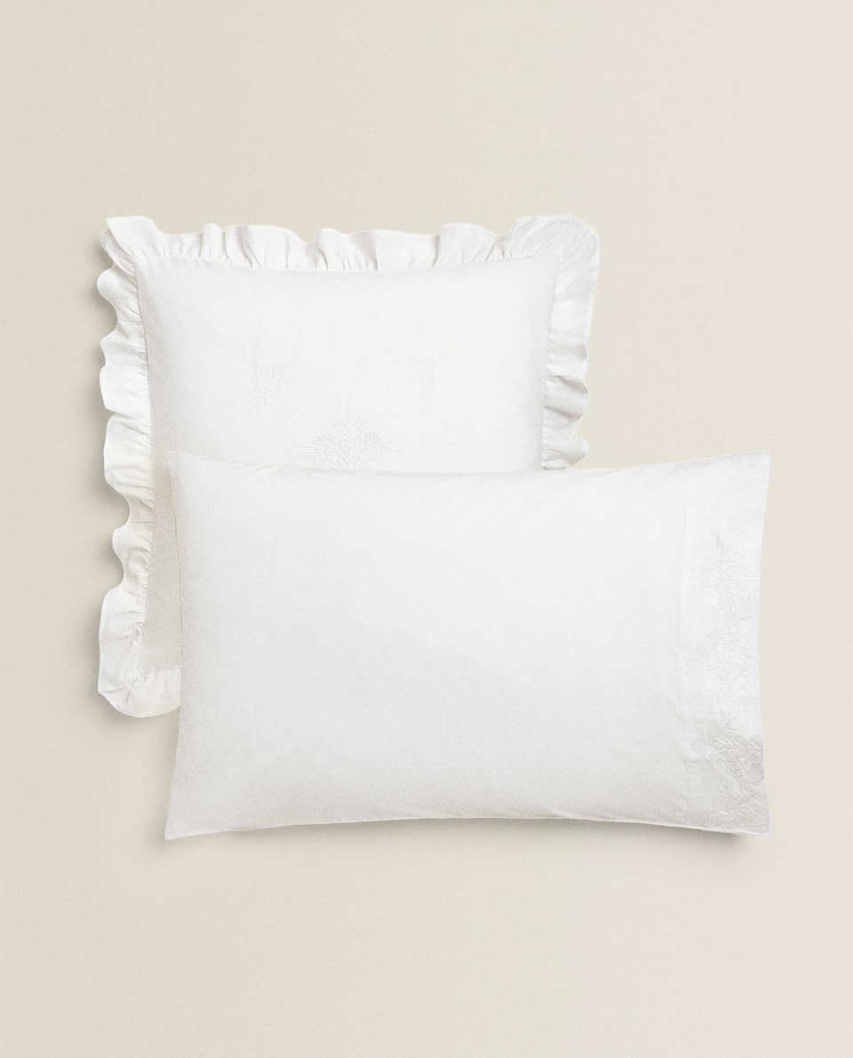 EMBROIDERED FLORAL PILLOWCASE WITH FRILLS