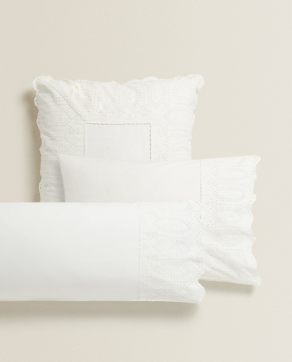 PILLOWCASE WITH EMBROIDERED LACE TRIM