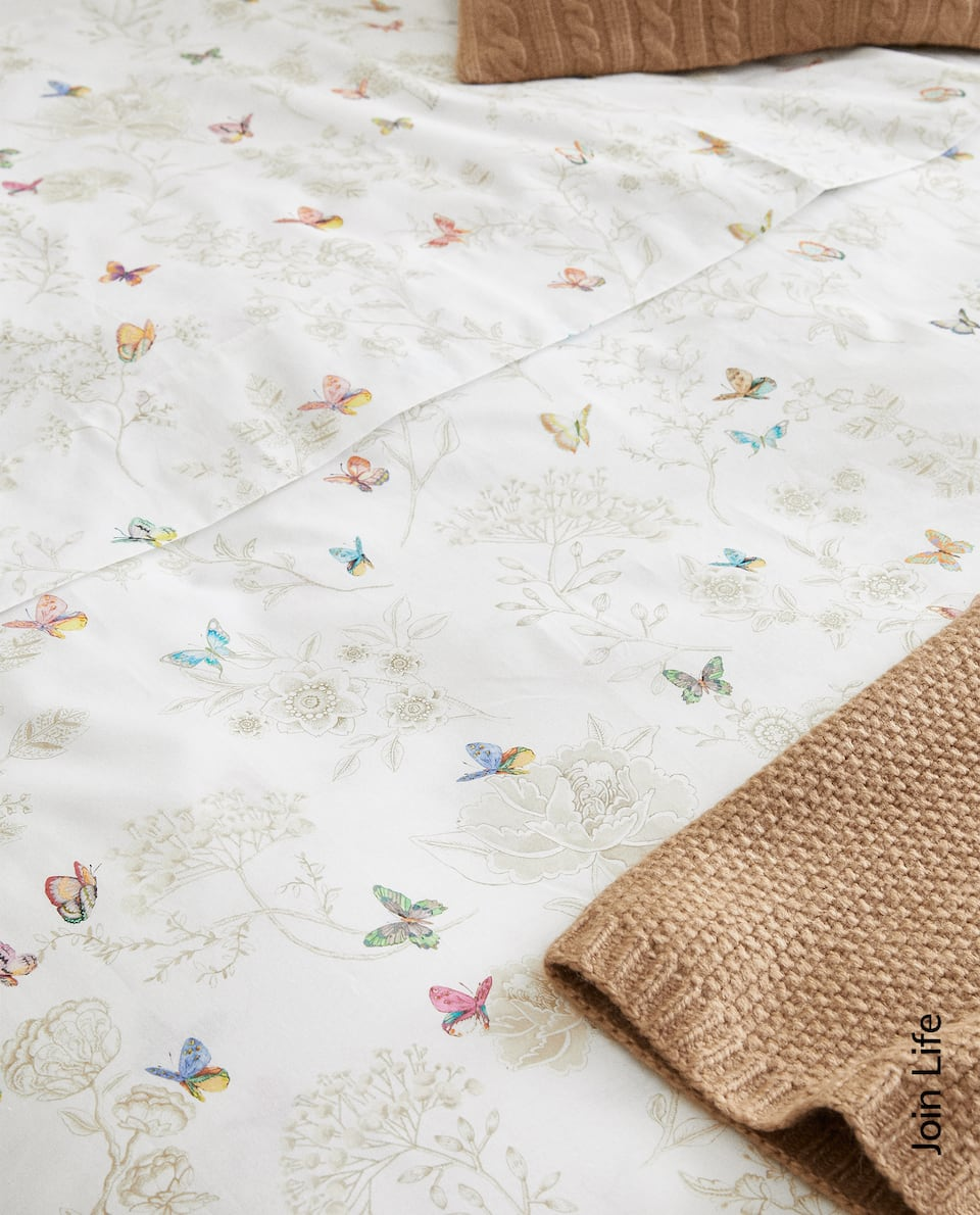 FLOWERS AND BUTTERFLIES DUVET COVER