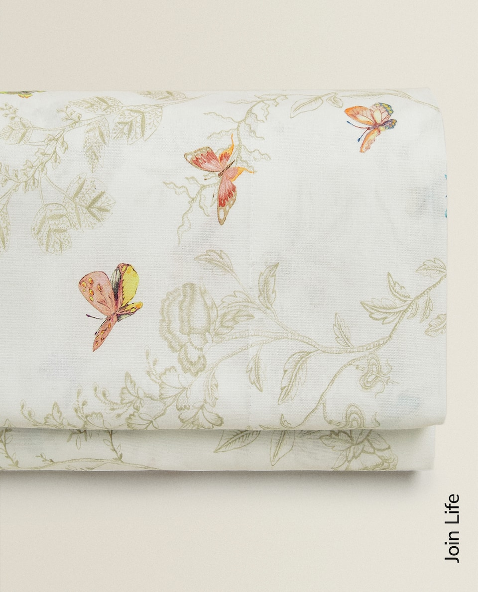 FLOWERS AND BUTTERFLIES FLAT SHEET