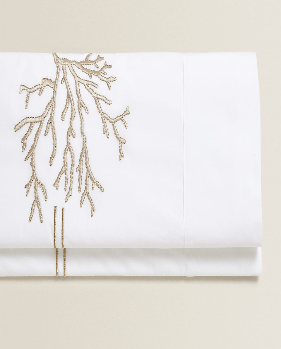 FLAT SHEET WITH EMBROIDERED CORAL