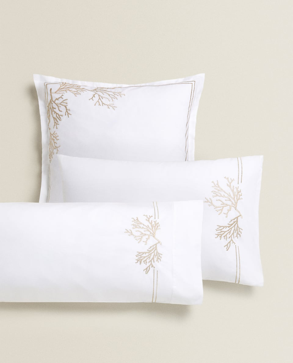 PILLOWCASE WITH EMBROIDERED CORAL
