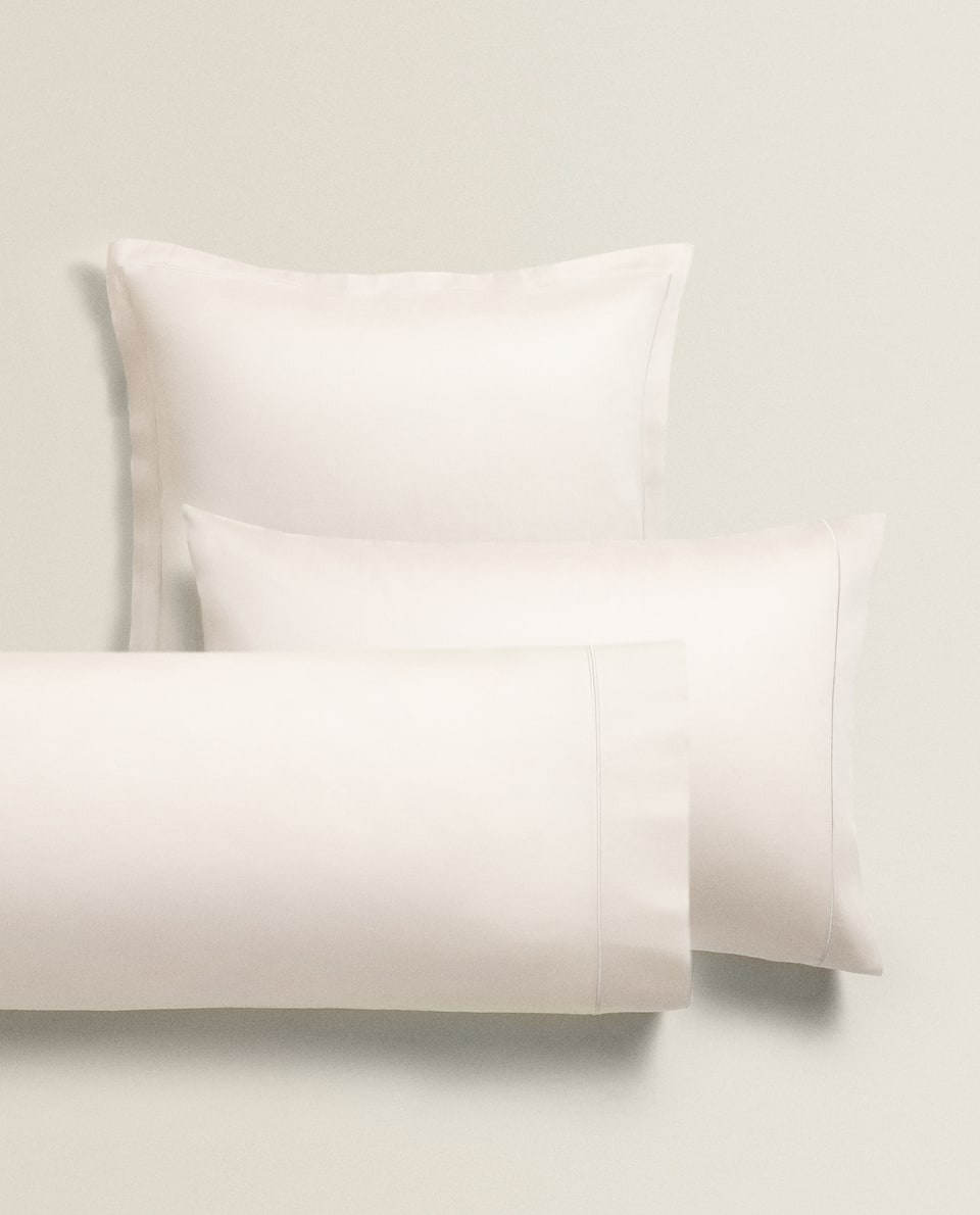 SATEEN PILLOWCASE WITH EMBROIDERED EDGE