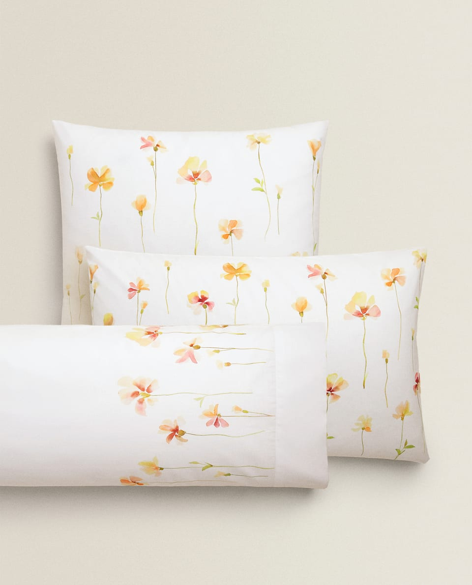 WATERCOLOUR FLORAL PRINT PILLOWCASE