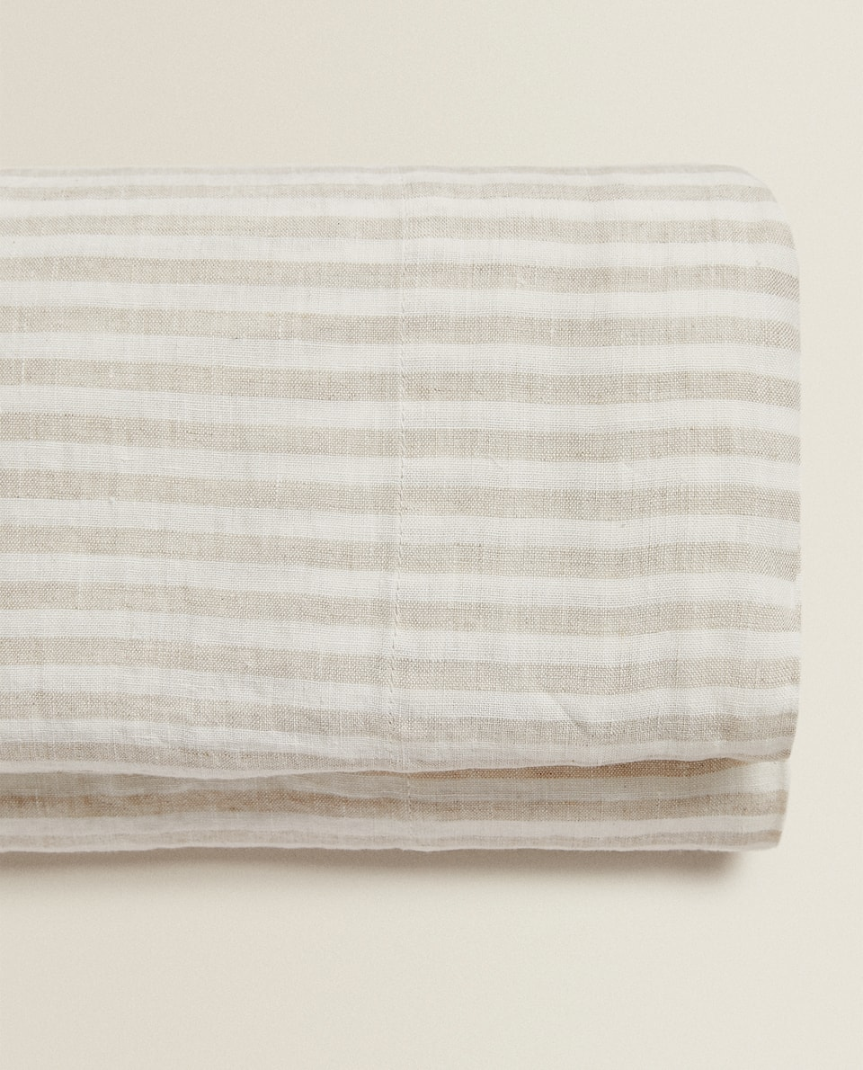 STRIPED LINEN FLAT SHEET WITH WASHED EFFECT