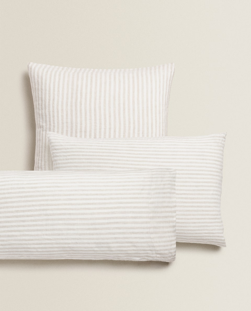 STRIPED LINEN PILLOWCASE WITH WASHED EFFECT